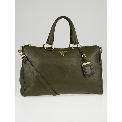Prada Militare Vitello Daino Leather Top Handle Bauletto Bag BL0778