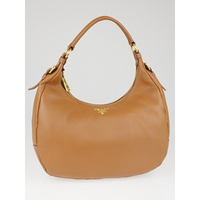 Prada Cuoio Vitello Daino Leather Zippy Top Hobo Bag B4311M