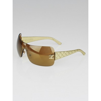 Chanel Gold Lens Gold Leather Quilted Sunglasses-4157