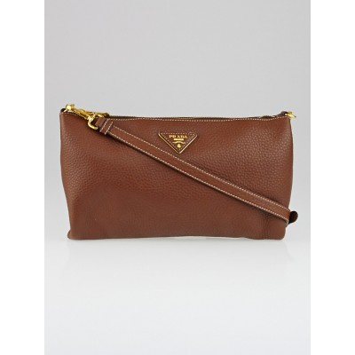 Prada Brown Vitello Daino Leather Zip Top Cross-Body Bag