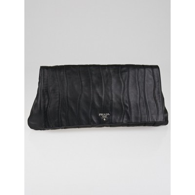 Prada Black Nappa Stripes Leather Large Clutch Bag