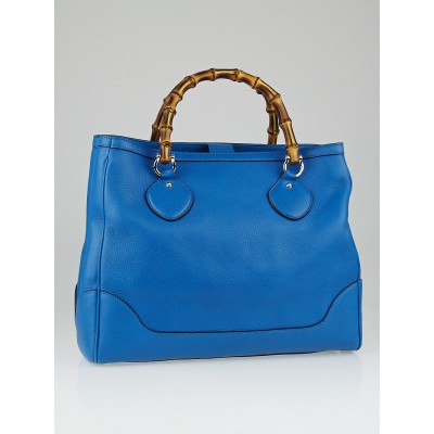 Gucci Blue Pebbled Leather Bamboo Diana Top Handle Tote Bag