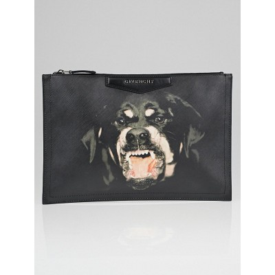 Givenchy Black Coated Canvas Rottweiler Antigona Zip Pouch Bag
