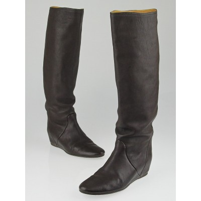 Lanvin Brown Leather Knee High Boots Size 9.5/40