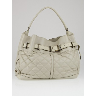 Burberry Grey Quilted Leather Medium Enmore Hobo Bag