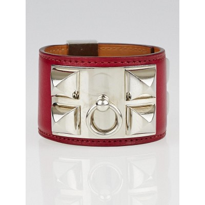 Hermes Ruby Swift Leather Palladium Plated Collier de Chien Size S