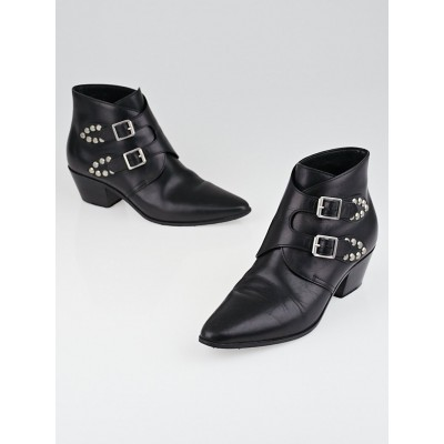 Saint Laurent Black Leather Studded Buckle Ankle Boots Size 6.5/37