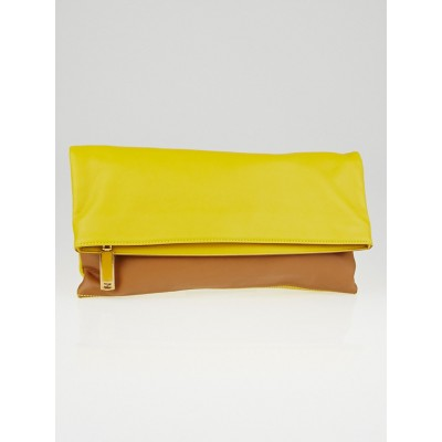 Fendi Brown/Lemon Vitello Leather Foldover Clutch Bag 8BP062