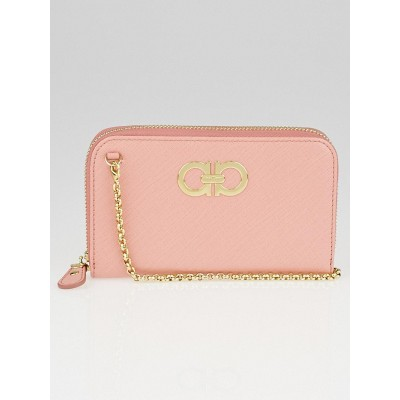 Salvatore Ferragamo Pink Embossed Calfskin Leather Mini Gancini Wallet on a Chain Bag