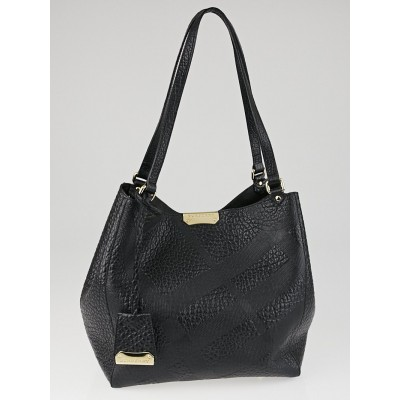 Burberry Black Embossed Check Grain Leather Small Canterbury Tote Bag