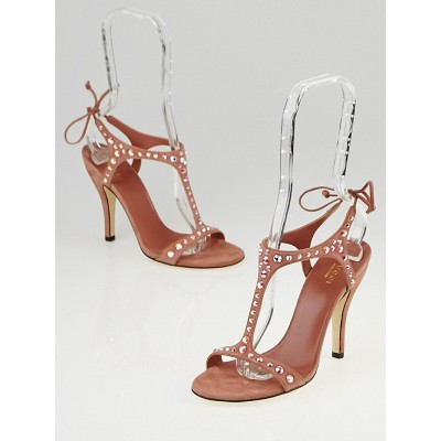 Gucci Desert Rose Suede and Crystal Yulia T-Strap Sandals Size 5/35.5