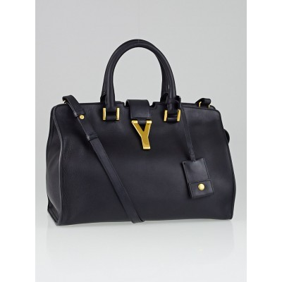 Saint Laurent Navy Blue Calfskin Leather Small Cabas ChYc Bag