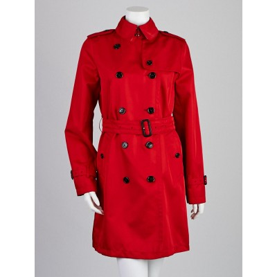 Burberry London Red Polyester Barkestone Mid-Length Trench Coat Size 8