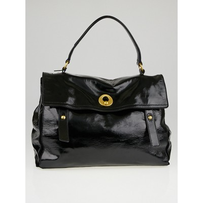 Yves Saint Laurent Black Patent Leather Large Muse Two Bag