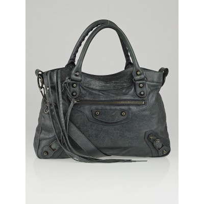 Balenciaga Anthracite Lambskin Leather Motorcycle Town Bag