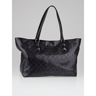 Gucci Black GG Imprime Coated Canvas Metal Stud Tote Bag