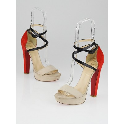 Christian Louboutin Beige/Red Leather/Suede Summerissima 140 Ankle Strap Platform Sandals Size 8/38.5