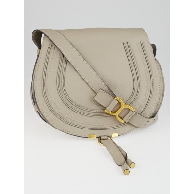 Chloe Light Grey Pebbled Calfskin Leather Marcie Crossbody Bag