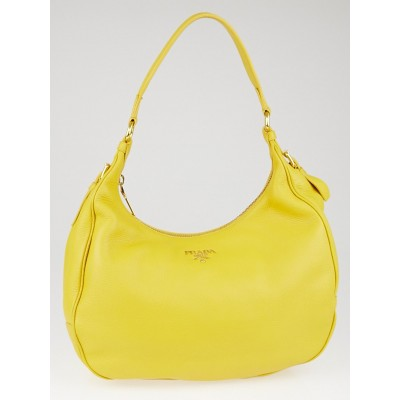 Prada Mimosa Vitello Daino Leather Zip Top Hobo Bag B4311M