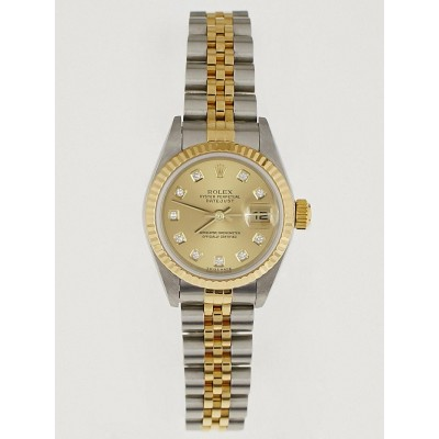 Rolex 26mm Stainless Steel 18K Yellow Gold and Diamond Oyster Perpetual Datejust Watch 179173