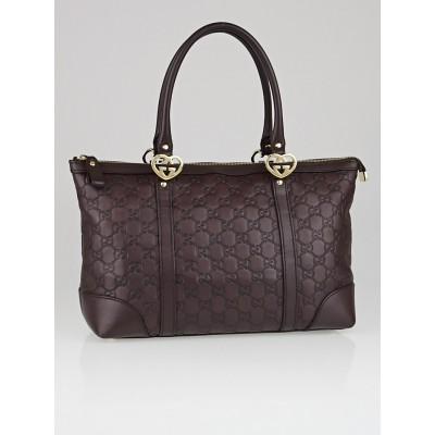 Gucci Ebony Guccissima Leather Lovely Heart Interlocking G Tote Bag