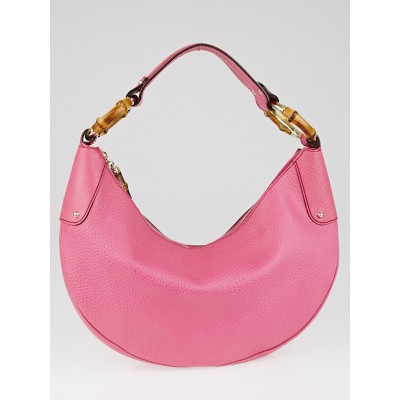 Gucci Pink Pebbled Leather Bamboo Ring Medium Hobo Bag