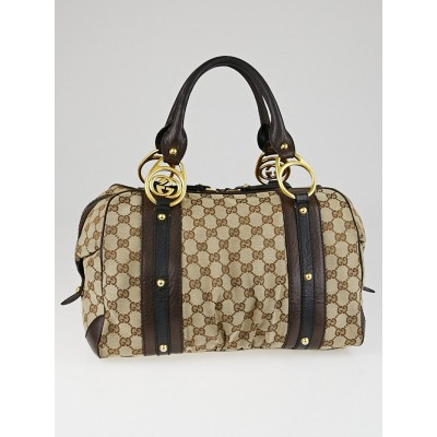 Gucci Beige/Ebony GG Canvas Interlocking Medium Boston Bag