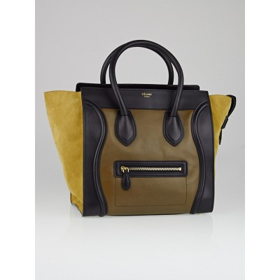 Celine Tri-Color Olive/Black Suede/Calfskin Leather Mini Luggage Tote Bag