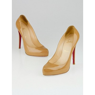 Christian Louboutin Nude Patent Leather Rolando 120 Pumps Size 9/39.5