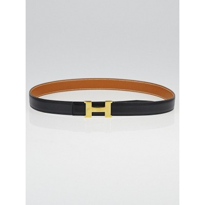 Hermes 24mm Black Box / Gold Courchevel Leather Gold Plated Constance H Belt Size 80