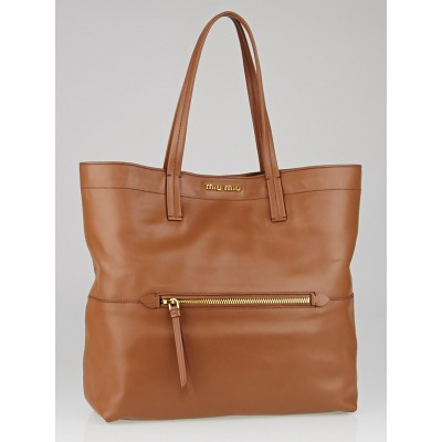 Miu Miu Nocciolo Vitello Soft Calf Leather Shopping Tote Bag RR1820