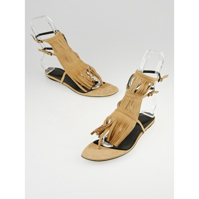 Gucci Nude Suede Becky Fringe Thong Sandals Size 8.5/39