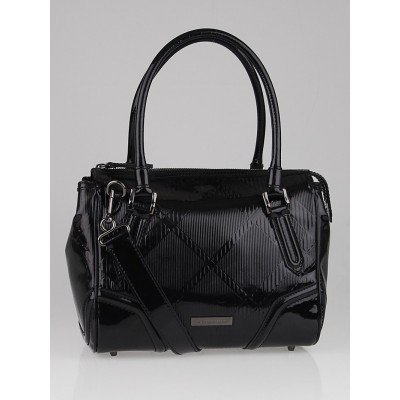 Burberry Black Check Embossed Patent Leather Medium Anford Bowling Bag