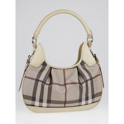 Burberry Smoked Check Coated Canvas Small Brooklyn Hobo Bag