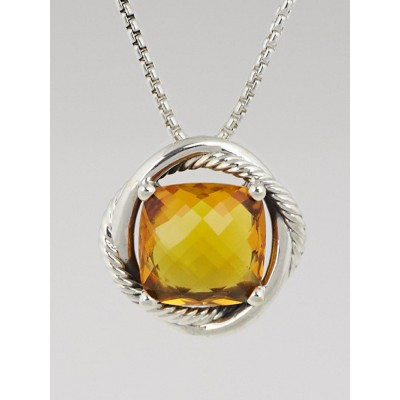 David Yurman 14mm Citrine and Sterling Silver Infinity Pendant Necklace