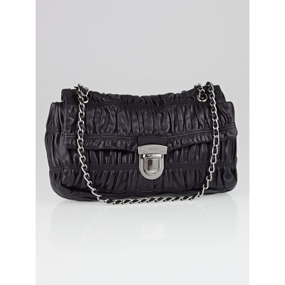 Prada Black Nappa Gaufre Leather Chain Flap Bag BR4553