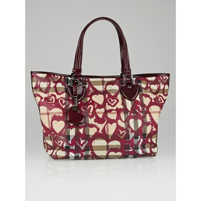 Burberry Berry Patent Leather Painted Heart Supernova Coated Canvas Nickie Tote Bag