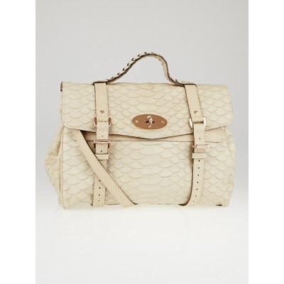 Mulberry Beige Silky Snake Print Leather Oversized Alexa Bag