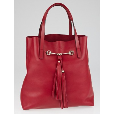 Gucci Red Leather Small Park Avenue Horsebit Tote Bag