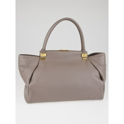 Lanvin Grey Pebbled Leather Trilogy Tote Bag
