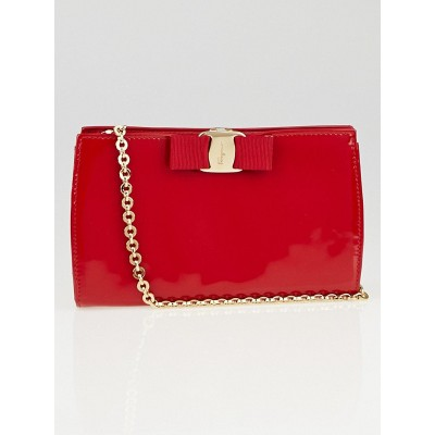 Salvatore Ferragamo Red Patent Leather Miss Vara Bow Bag