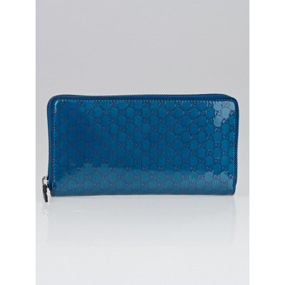 Gucci Turquoise/Silver Microguccissima Patent Leather Zippy Wallet