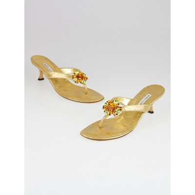 Manolo Blahnik Gold Rafia Leather Afrisea Thong Sandals Size 11.5/42