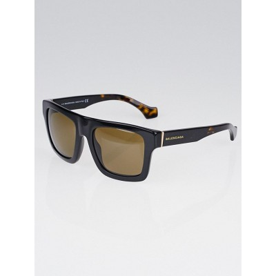 Balenciaga Black Resin Square Frame Sunglasses-BA0010