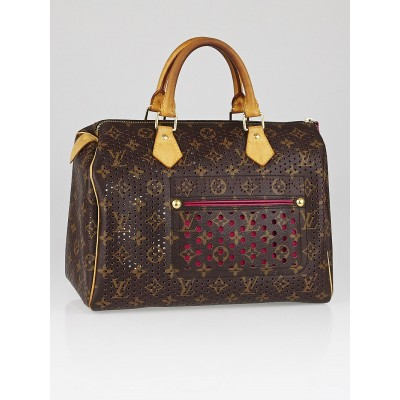 Louis Vuitton Limited Edition Fuchsia Monogram Perforated Speedy 30 Bag