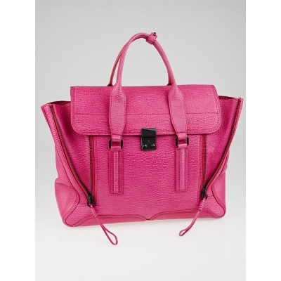 3.1 Phillip Lim Bright Fuchsia Shark Embossed Leather Large Pashli Satchel Bag