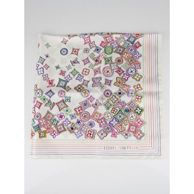 Louis Vuitton White Monogram Multicolore Candy Silk Square Scarf