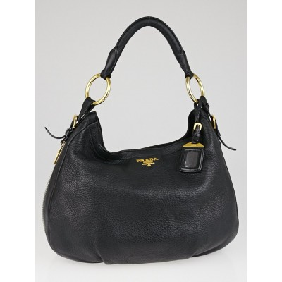 Prada Black Cervo Lux Leather Hobo Bag BR4239