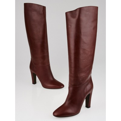 Valentino Brown Leather Tall Boots Size 7.5/38