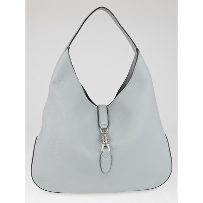Gucci Light Blue Pebbled Leather Soft Jackie Hobo Bag